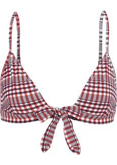 Ganni Woman Gingham Seersucker Triangle Bikini Top Red