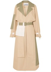 Ganni Woman Hazel Color-block Cotton-poplin Trench Coat Beige