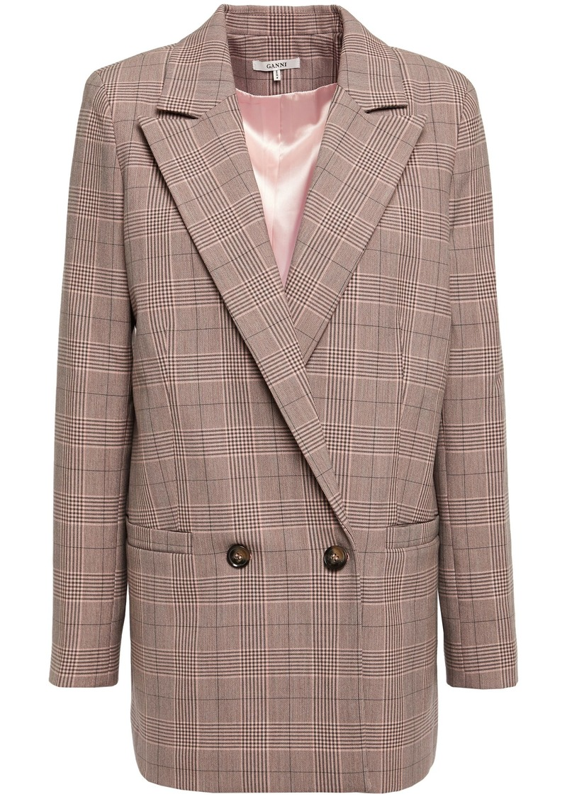 Ganni Woman Hewitt Double-breasted Checked Cady Blazer Taupe