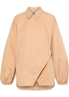 Ganni Woman Hewson Cotton-blend Twill Wrap Top Sand