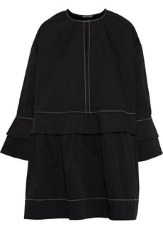 Ganni Woman Hewson Ruffle-trimmed Cotton-blend Twill Mini Dress Black