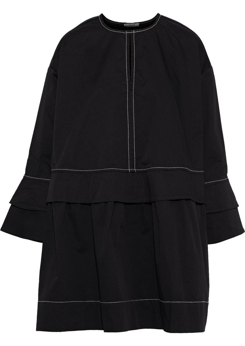 Ganni Woman Hewson Ruffle-trimmed Cotton-blend Twill Mini Dress Black