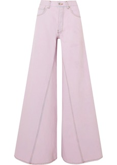 Ganni Woman High-rise Wide-leg Jeans Lilac