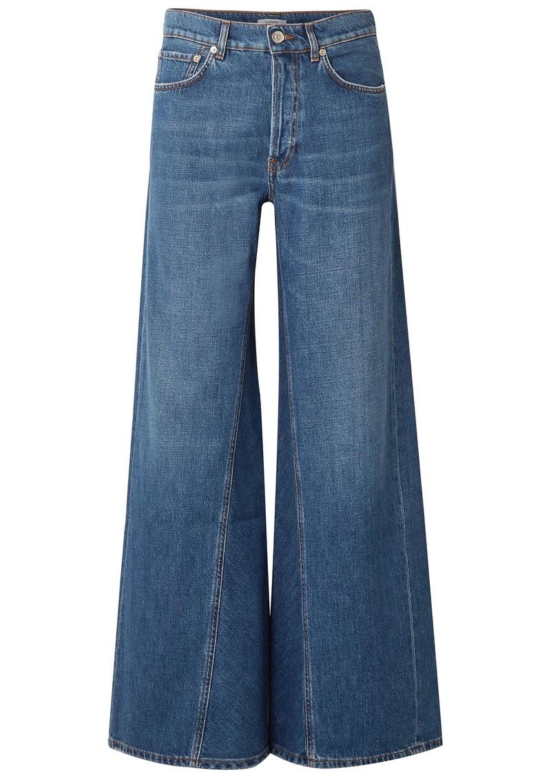 Ganni Woman High-rise Wide-leg Jeans Mid Denim
