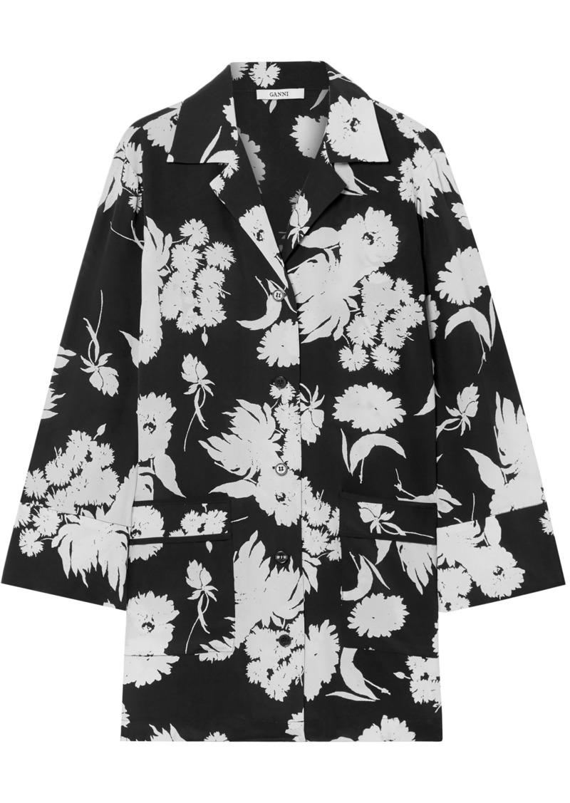 Ganni Woman Kochhar Floral-print Silk-crepe Shirt Black