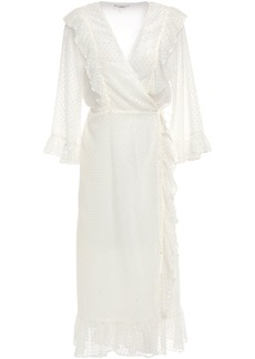 Ganni Woman Jasmine Ruffled Flocked Gauze Midi Wrap Dress Ivory