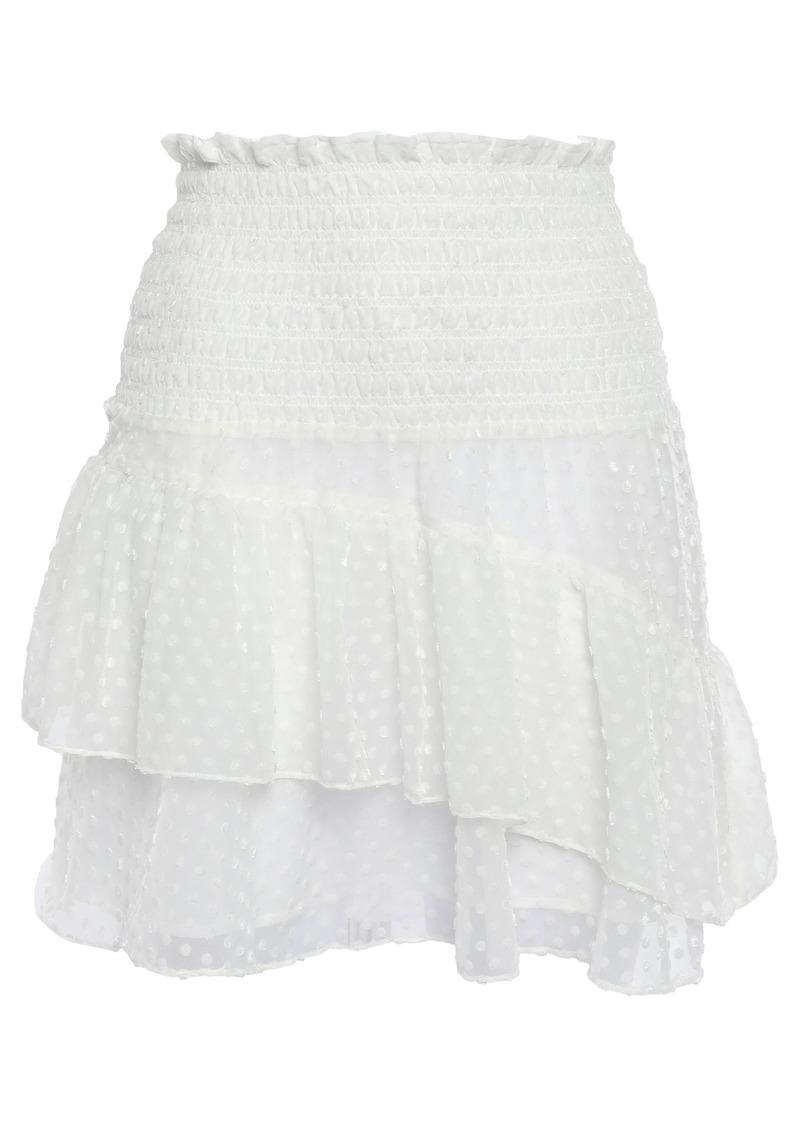 Ganni Woman Jasmine Ruffled Flocked Georgette Mini Skirt Ivory