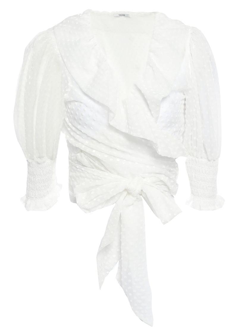Ganni Woman Jasmine Ruffled Flocked Tulle Wrap Blouse Ivory