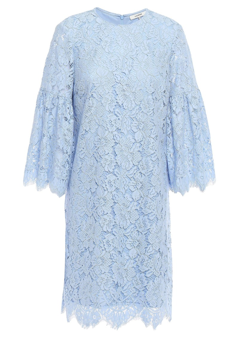 Ganni Woman Jerome Corded Lace Mini Dress Light Blue
