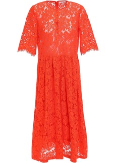 Ganni Woman Jerome Pleated Corded Lace Midi Dress Papaya