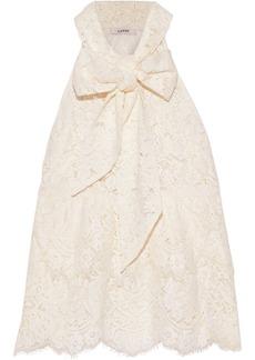 Ganni Woman Jerome Pussy-bow Corded Lace Peplum Top Ecru