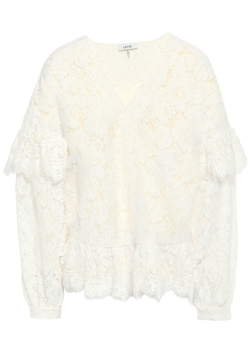 Ganni Woman Jerome Ruffled Corded Lace Blouse Off-white