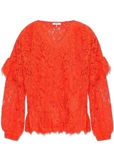 Ganni Woman Jerome Ruffled Corded Lace Blouse Papaya