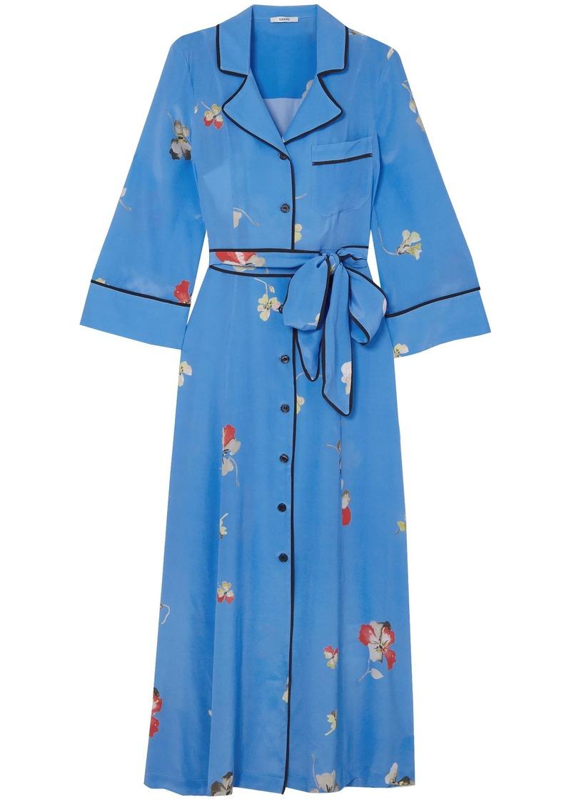 Ganni Woman Joycedale Floral-print Silk Crepe De Chine Maxi Dress Azure