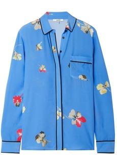 Ganni Woman Joycedale Floral-print Silk Crepe De Chine Shirt Azure