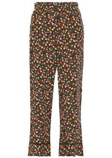 Ganni Woman Joycedale Floral-print Washed-silk Wide-leg Pants Orange