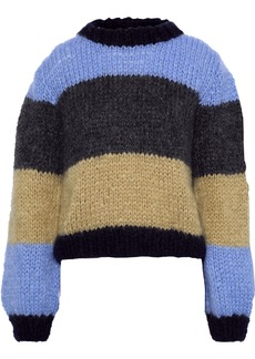 Ganni Woman Julliard Color-block Mohair And Wool-blend Sweater Azure
