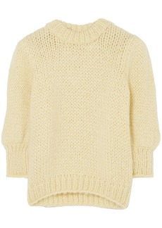 Ganni Woman Julliard Mohair And Wool-blend Sweater Pastel Yellow