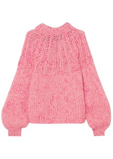 Ganni Woman Julliard Tie-back Marled Wool And Mohair-blend Sweater Pink