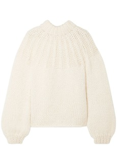 Ganni Woman Julliard Tie-back Merino Wool And Mohair-blend Sweater Cream