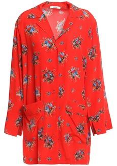 Ganni Woman Kochhar Floral-print Silk-crepe Shirt Red