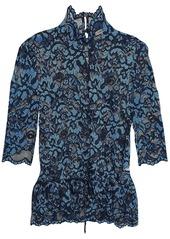 Ganni Woman Lace Turtleneck Peplum Top Midnight Blue