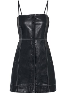 Ganni Woman Leather Mini Dress Black