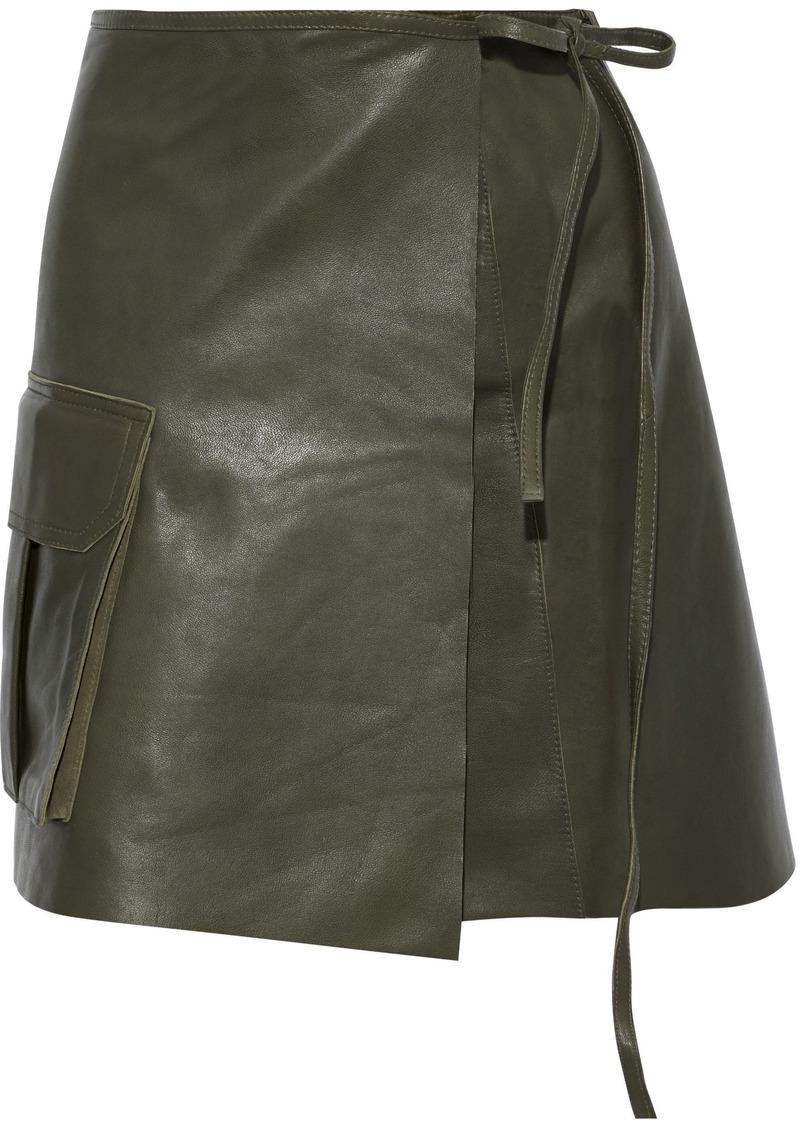 Ganni Woman Leather Mini Wrap Skirt Grey Green
