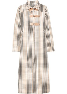 Ganni Woman Leather-trimmed Checked Cotton-twill Coat Peach