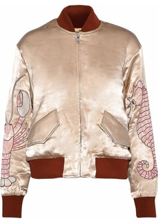 Ganni Woman Leclair Embroidered Satin Bomber Jacket Sand
