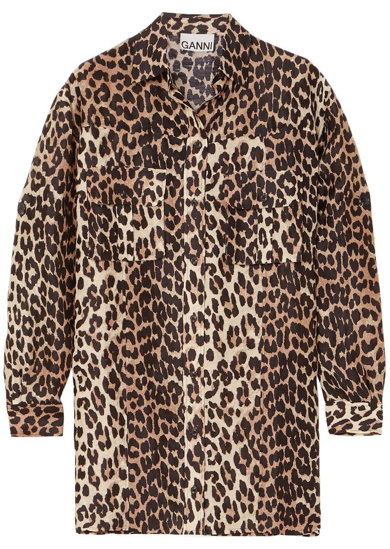 Ganni Woman Leopard-print Linen And Silk-blend Shirt Animal Print