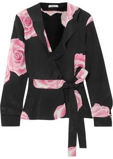 Ganni Woman Leopard-print Silk Crepe De Chine Wrap Top Black