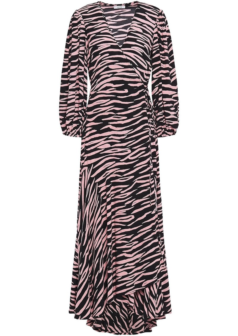 Ganni Woman Lindale Printed Crepe De Chine Maxi Wrap Dress Baby Pink