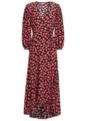 Ganni Woman Lindale Printed Crepe De Chine Maxi Wrap Dress Black