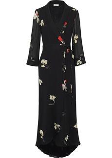 Ganni Woman Lorita Floral-print Georgette Maxi Wrap Dress Black