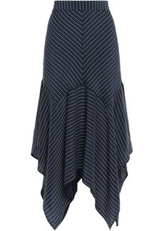 Ganni Woman Lynch Asymmetric Striped Silk-blend Seersucker Midi Skirt Navy