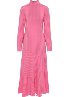 Ganni Woman Lynch Pinstriped Silk-blend Seersucker Midi Dress Pink