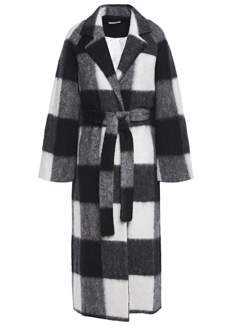 Ganni Woman Mckinney Belted Checked Brushed-felt Coat Black