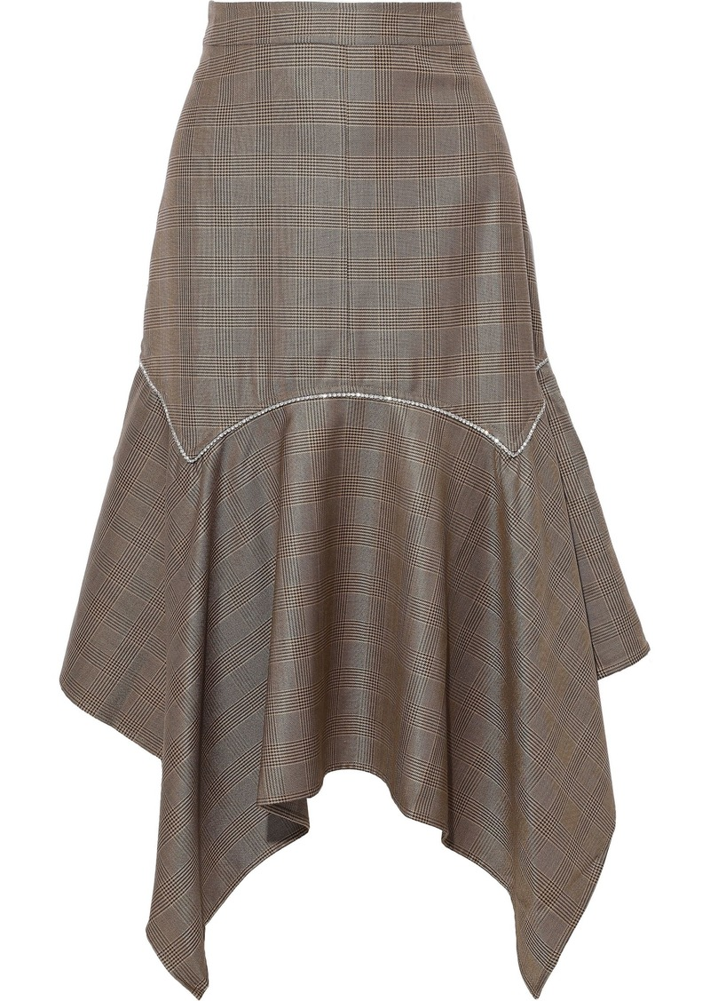Ganni Woman Crystal-embellished Prince Of Wales Checked Silk And Wool-blend Midi Skirt Brown