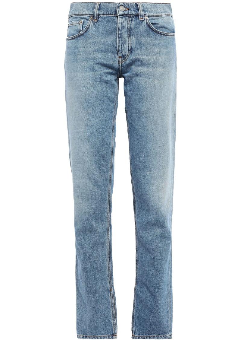Ganni Woman Mid-rise Straight-leg Jeans Light Denim