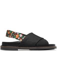 Ganni Woman Mona Grosgrain Slingback Sandals Black