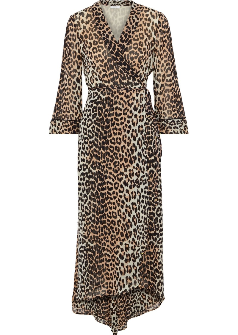 Ganni Woman Leopard-print Chiffon Midi Wrap Dress Animal Print