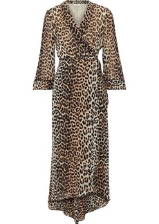 Ganni Woman Mullin Asymmetric Printed Georgette Midi Wrap Dress Animal Print