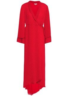 Ganni Woman Mullin Asymmetric Printed Georgette Midi Wrap Dress Red