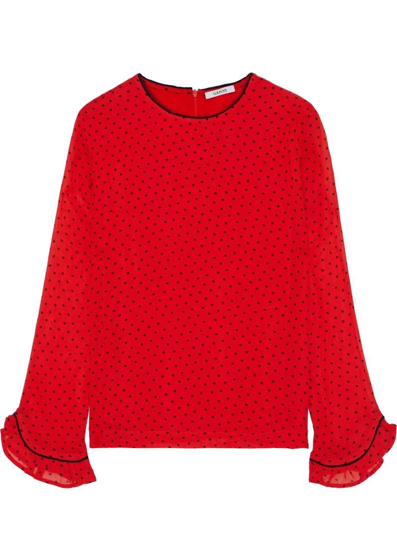 Ganni Woman Mullin Ruffle-trimmed Polka-dot Georgette Blouse Red