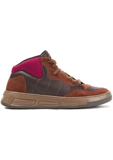 Ganni Woman Neoprene-paneled Leather And Suede Sneakers Brown