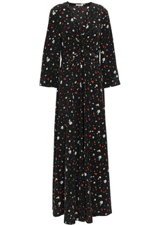 Ganni Woman Nolana Floral-print Silk Crepe De Chine Maxi Dress Black
