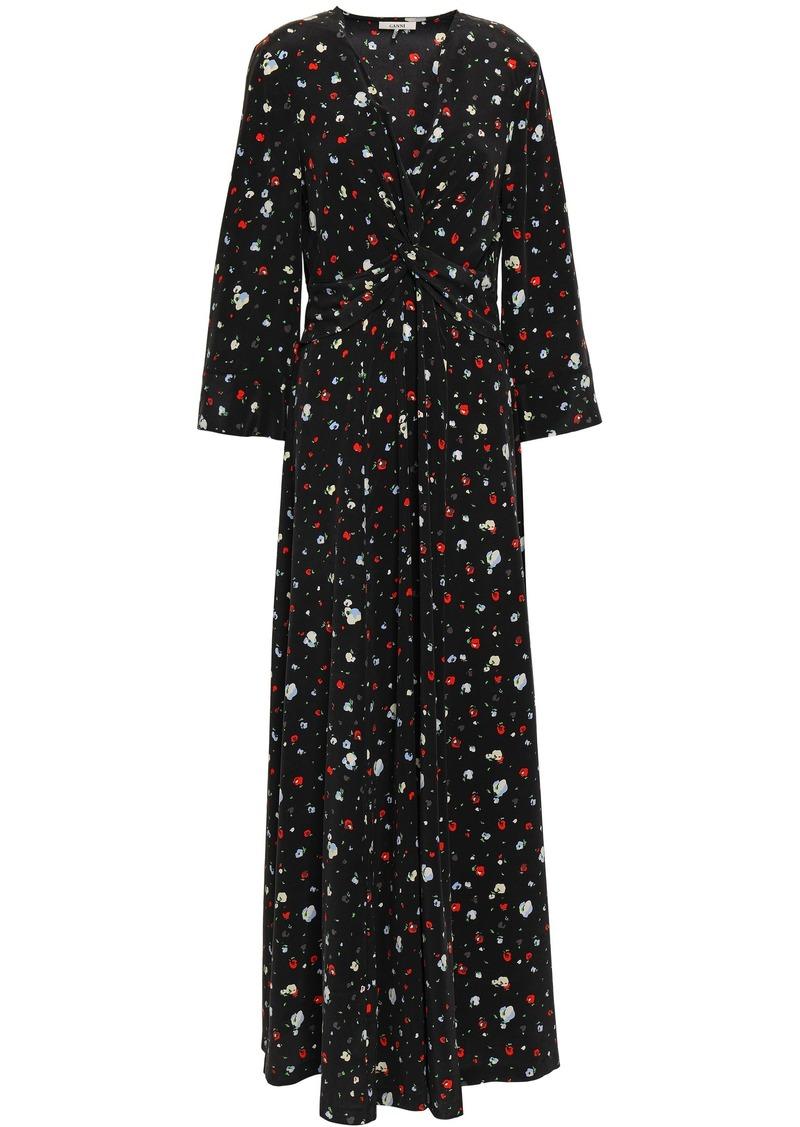 Ganni Woman Nolana Floral-print Silk Crepe De Chine Maxi Dress Black