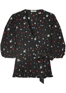 Ganni Woman Nolana Floral-print Silk Crepe De Chine Wrap Top Black