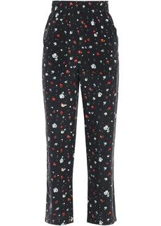 Ganni Woman Nolana Floral-print Washed-silk Straight-leg Pants Black